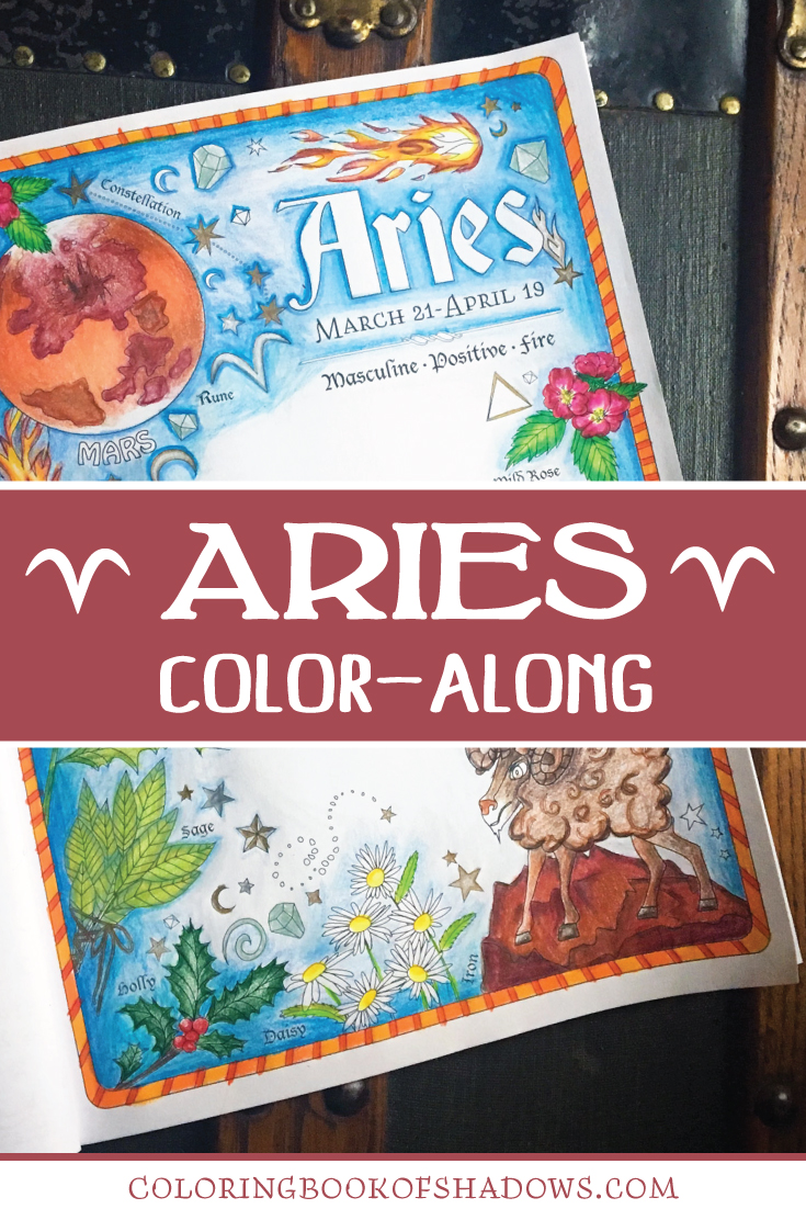 aries coloring page in complementary colors coloring book of shadows