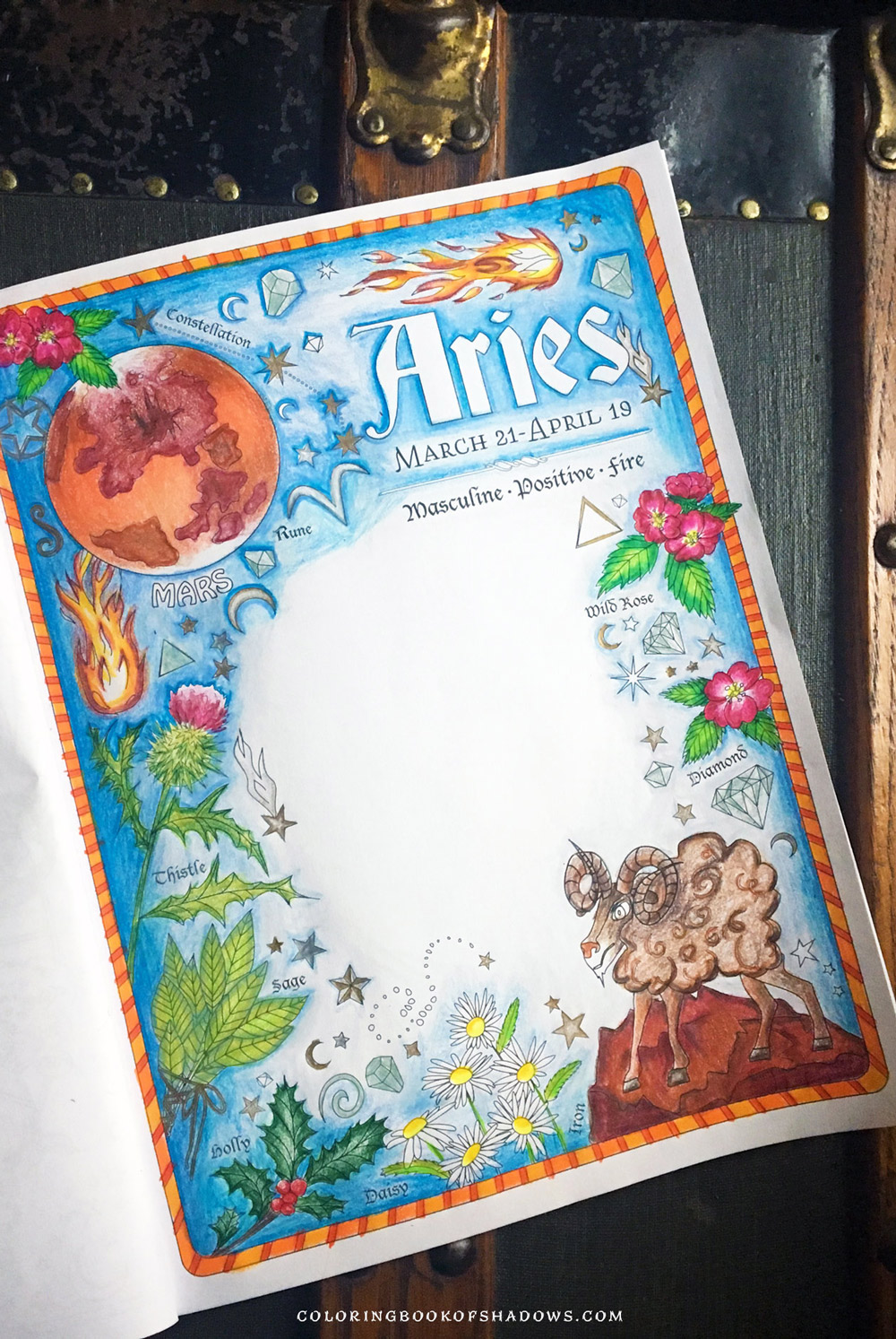 An Aries page in colored pencil from the Coloring Book of Shadows