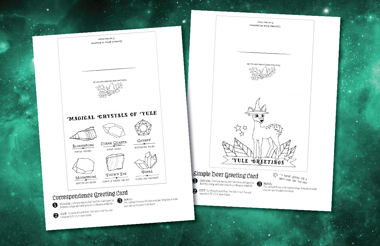 Get A Free Yule Greeting Set Coloring Book Of Shadows