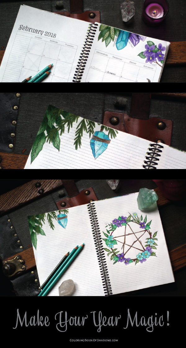 coloring book of shadows planner for a magical 2018 february planner and spell pages coloring book of shadows