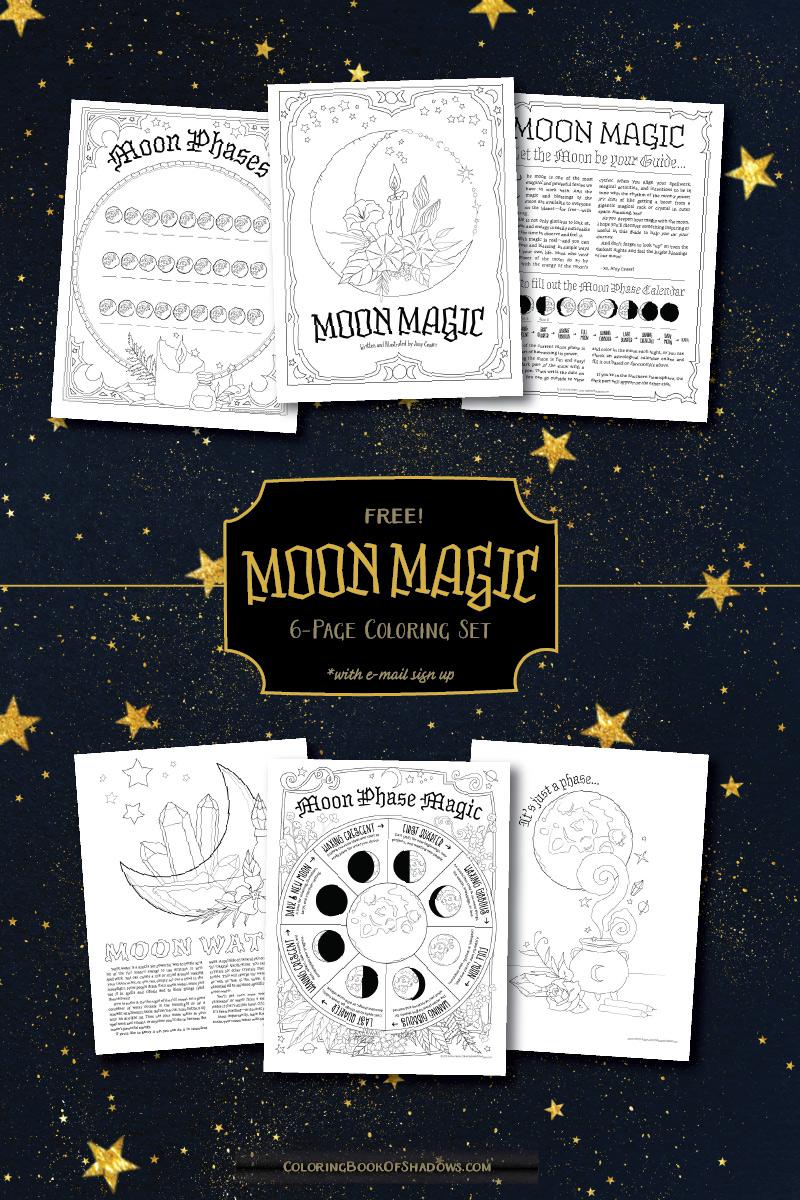Moon Magic 6-Page Coloring Set