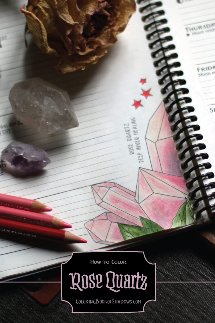 How To Color A Rose Quartz Crystal Coloring Book Of Shadows