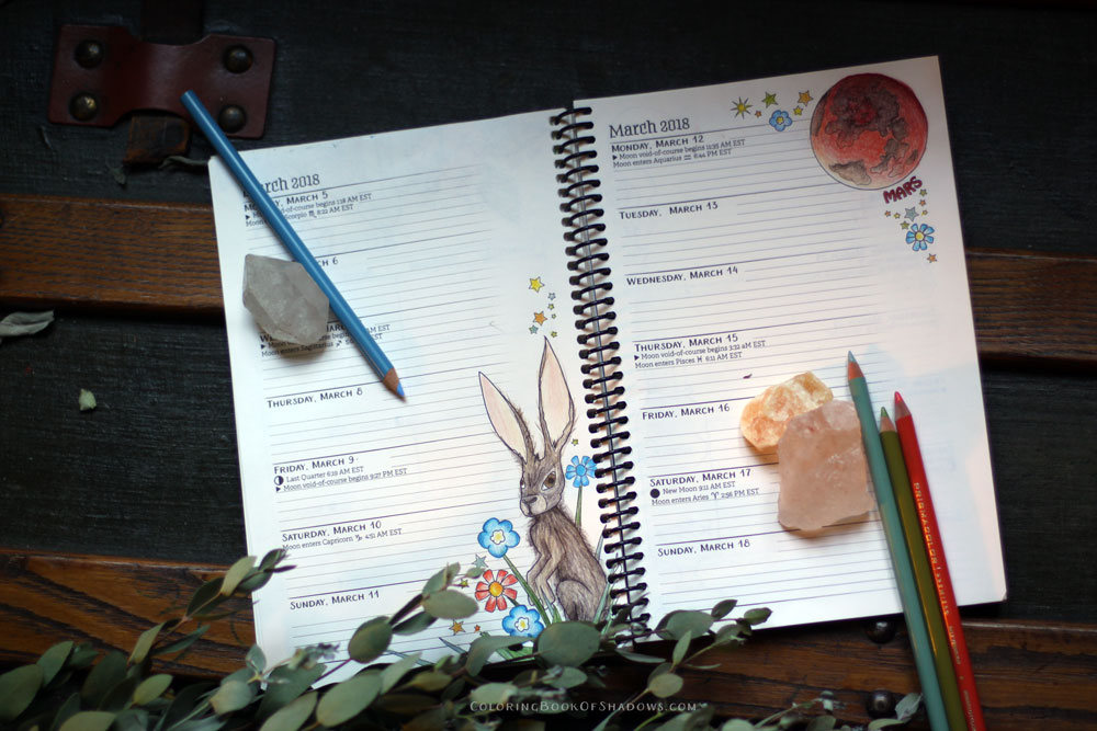 Coloring March Witchcraft Correspondences: sage, aquamarine, a hare, and Mars