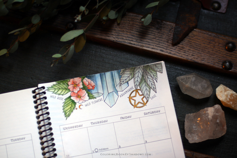 Coloring March Witchcraft Correspondences: sage, aquamarine, a hare, and Mars.