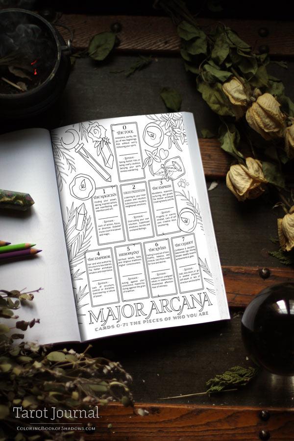 Tarot Journal | Coloring Book of Shadows 🕯📜🖋 | Tarot Journal Ideas DIY | Tarot Journal Printables | Tarot Journaling Template
